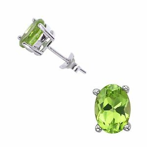 925-Sterling-Silver-5x7-Oval-Peridot-Stud-Earrings