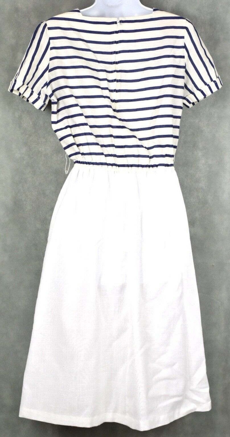 Vintage No Brand White And Blue Dress Lot Size 12 - image 8