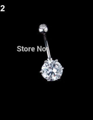 Rhinestone Crystal silver belly bar surgical steel body jewellery Gift