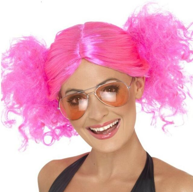 Ladies 80s 1980s Glam Fancy Dress Wig Neon Pink by Smiffys Hen Party New