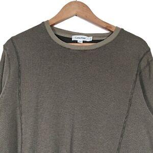 Calvin Klein Grün Rundhalsausschnitt Langarm Pulli Pullover Sweatshirt-Herren Large