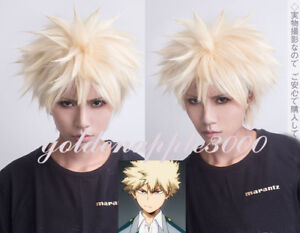 Details About Super My Boku No Hero Academia Bakugou Katsuki Blonde Cosplay Wig Party Wigs