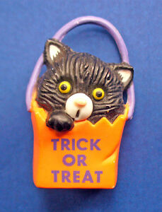 Gibson-PIN-Halloween-Vintage-CAT-BLACK-Fraidy-TRICK-OR-TREAT-Holiday-Brooch