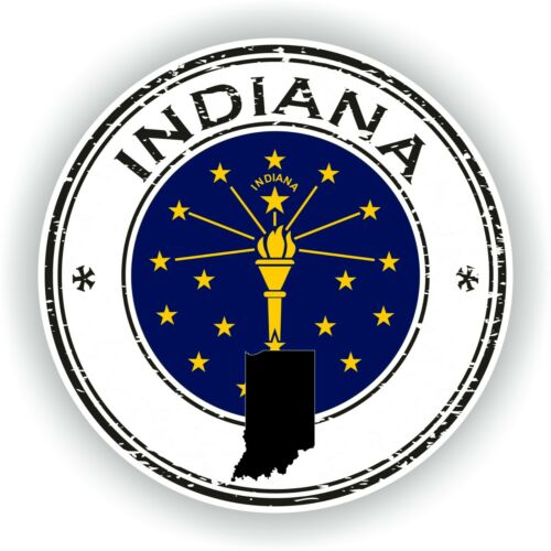 Sticker of Indiana Stamp for Bumper Travel Car Laptop Tablet Suitcase Hollidays