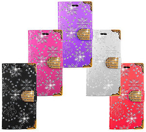 iPhone-Nokia-Sony-LG-Bling-Diamond-Leather-Wallet-Kickstand-Bag-Case-Cover