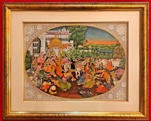 Hand-Painted-Shree-Krishna-Dwarka-Miniature-Painting-India-Framed-Artwork