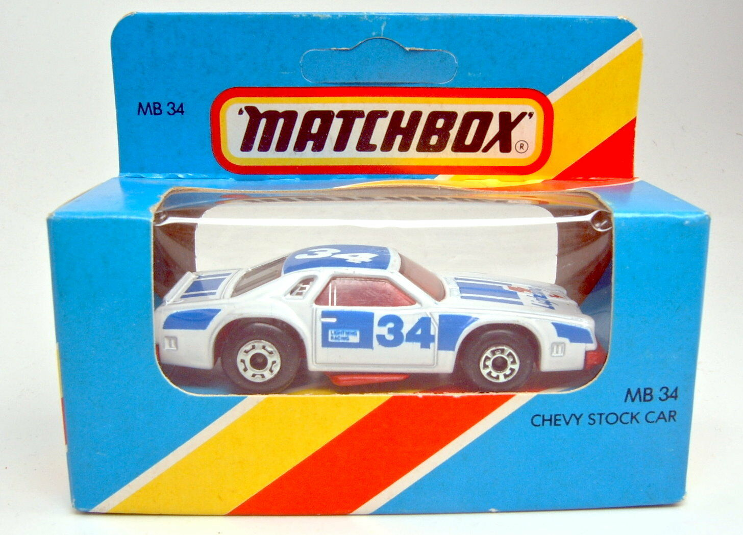 Matchbox SF No 34c Chevy Pro Stocker White RARE RED BASE PLATE IN BOX