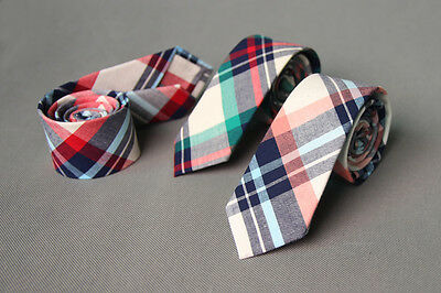 Checks 100% Cotton Wedding Groom Party Business Attire Skinny Necktie Neck Tie