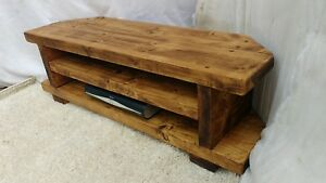 Corner Rustic Pine Tv Unit Solid Wood Stand Cabinet Rustic Pine Wax