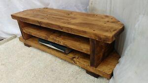 Corner Rustic Pine Tv Unit Solid Wood