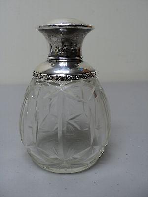 Decorative Arts Embossed Sterling Stopper Refreshment Abp Cut Glass Cologne Dresser Toiletries Jar/bottle