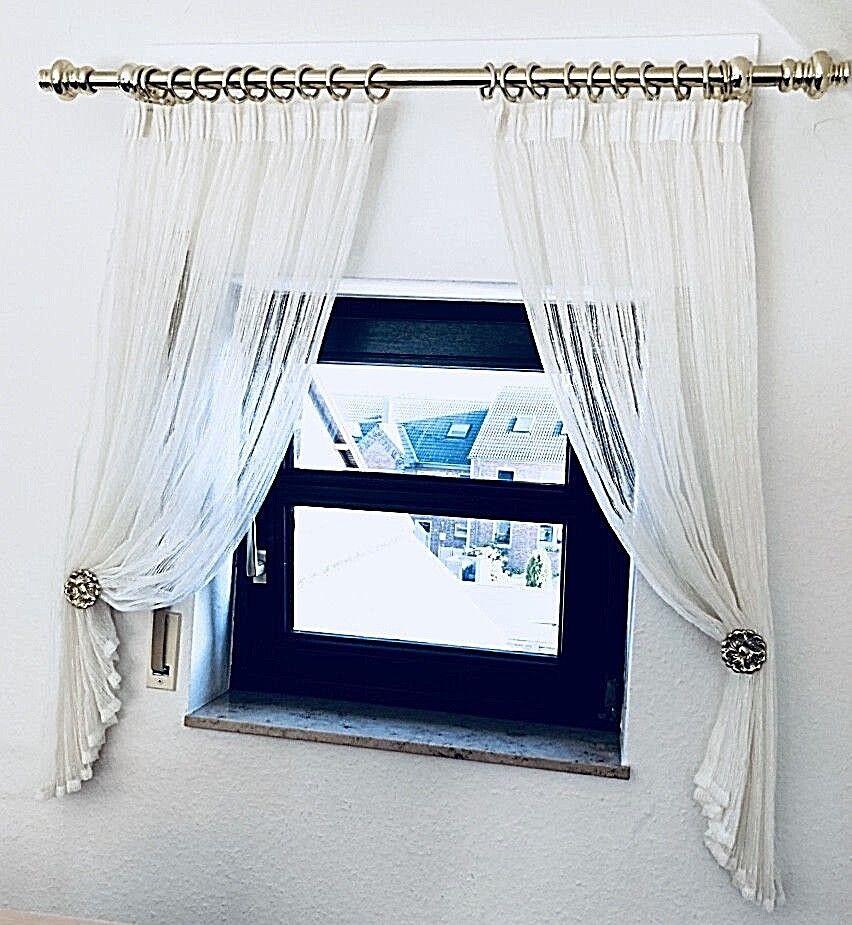 Komplette Fenstergarnitur    f. f. f. 1 Fenster ca. 100 x 100 cm  wollweiß   Messing | Smart  b42153