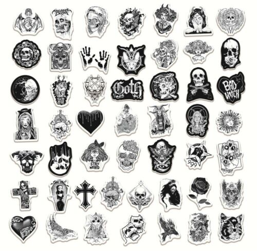 Details about  /50PCS Skateboard Stickers bomb Vinyl Laptop Luggage Black and White Sticker Lot