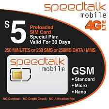 $5 Prepaid GSM SIM Card 250 Minutes 250 Text 30-Day Wireless Service No Contract
