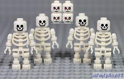 LEGO - Skeleton & Skulls Lot  - White Minifigure Head Monster Pirate Halloween