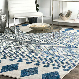 Details about Transitional Area Rug Southwestern Rugs Tribal Blue Gray  Living Room Quality Mat