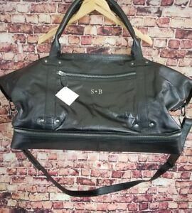 Pottery Barn Saddle Leather Weekender Bag Luggage Black