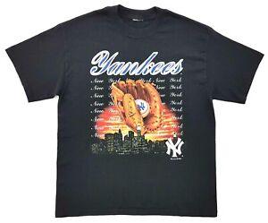 Vintage-New-York-Yankees-Skyline-Tee-Black-Size-L-Mens-T-Shirt-2002-MLB-Baseball