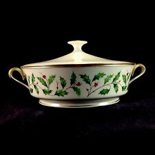 Lenox Holiday Gold Gilt Trim Round Covered Handled Tureen Lid Vegetable Dish