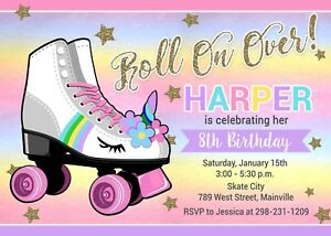 Roller Skate Invitation Unicorn Birthday Party Invite