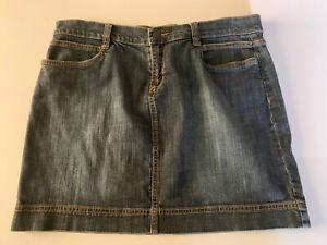 Daisy Fuentes Womens Size 10 Jean Mini Skirt Dark Stone Washed Stretch Denim EUC