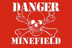 Danger-Minefield-Tin-Sign-Shield-Arched-Metal-7-7-8x11-13-16in-W1308