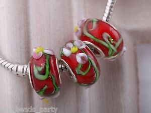 10pcs15X9mm-Lampwork-Glass-Emboss-Flower-European-Charm-Loose-Big-Hole-Beads-Red