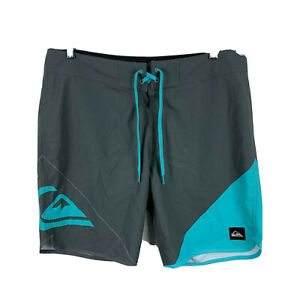 Quiksilver-Mens-Board-Shorts-Size-34-Blue-Grey-Drawstring-Swim-Shorts