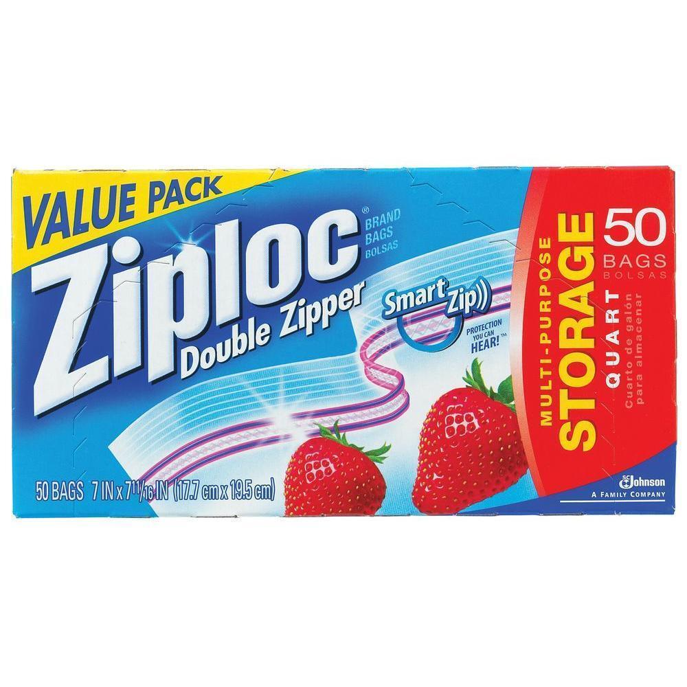 Ziploc Heavy Duty Double Zipper Quart Storage Bags Freezer Ziplock Genuine