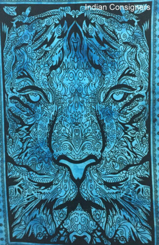 Beautiful Home Decor Blue Color Tiger picture Small Cotton Art  Tapestry Poster