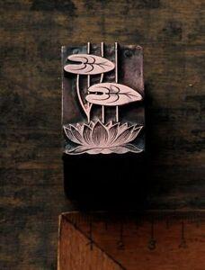 SEEROSE-Kupferdruckstock-Galvano-Druckstock-Klischee-Jugendstil-Art-Nouveau