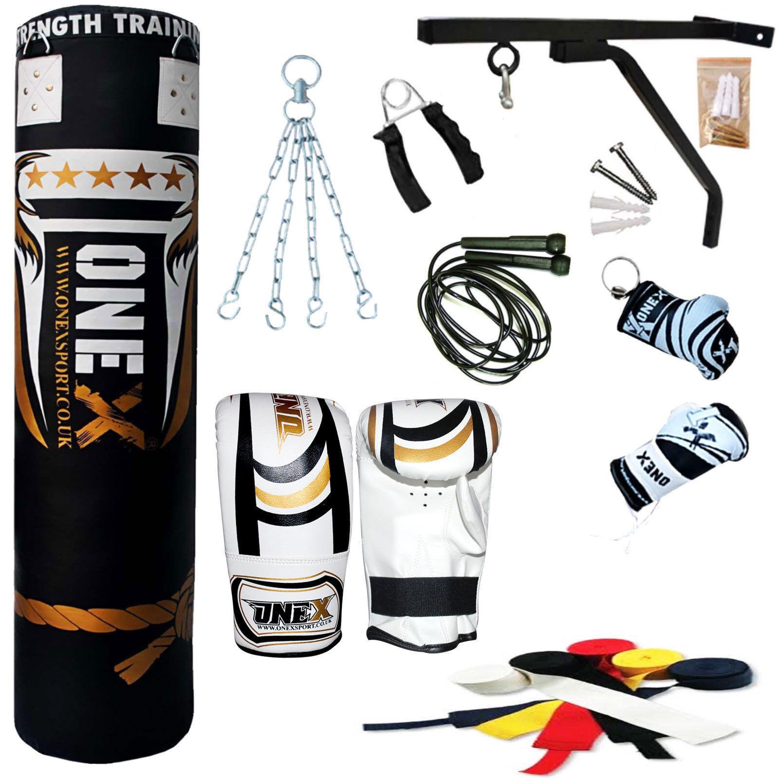 5ft Filled Hanging Boxing Punch Bag Set Punching Heavy MMA Free Standing Punching Set 7a2e1b