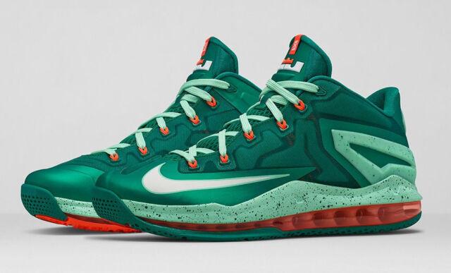 low priced 7c510 1e615 Nike Lebron XI Low Shoes Biscayne Mystic Green Orange White Size 13  642849-313