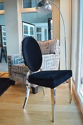 LUXURY GLAMOUR BLACK Velvet art deco dining dressing chrome oval back chair