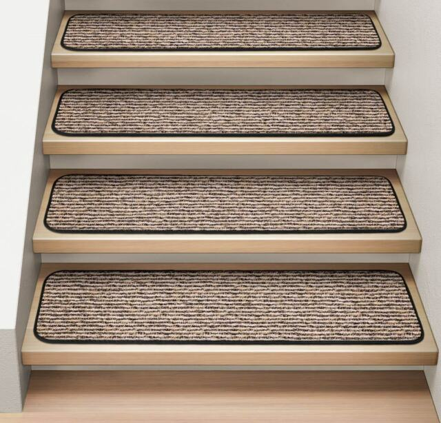 "Set of 15 ATTACHABLE Carpet Stair Treads 8""x27"" BLACK RIPPLE runner rugs"