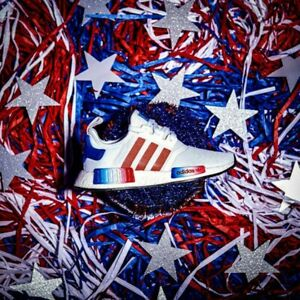 Details about ADIDAS NMD R1 J 5.5 Shoes USA Americana White Red Blue Independence Day EG6479
