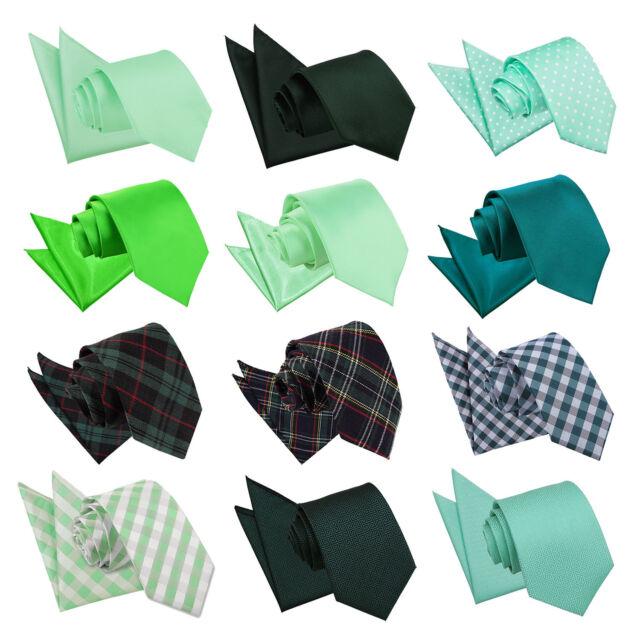 DQT vert pour homme tie hanky Set Solid Plain Écossais à Motifs Floral Paisley Polka