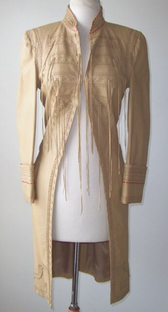 ALEXANDER MCQUEEN Tan Leather Laser Cut Fringe Coat 4