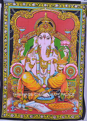 Hippie Ganesh Tapestry Multi Colour Wall Hanging,Indian Bohemian Tapestry