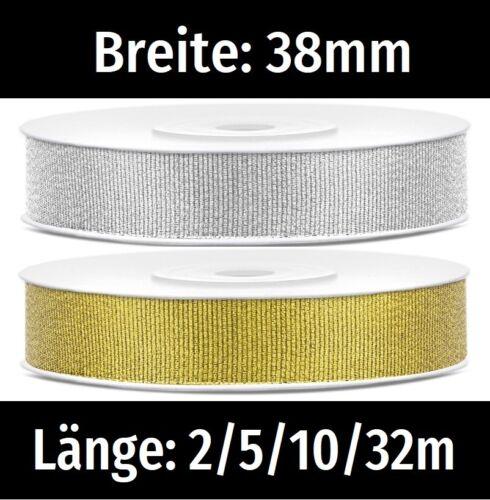 Brokatband 38mm 0,20//m Lurexband Gold Silber Dekoband Geschenkband Schleifenband