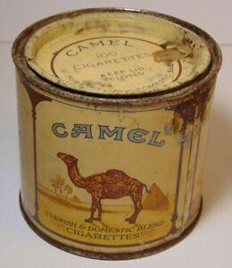 EMPTY Vintage 1940's WWII Era CAMEL GRAPHIC CAMEL CIGARETTE TIN KANSAS TAX STAMP