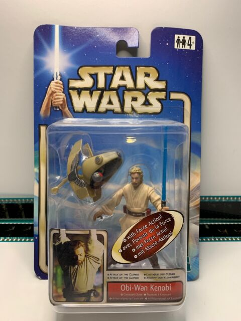 Star Wars Attack of the Clones OBI WAN KENOBI Coruscant Chase Figure 2002 BOXED