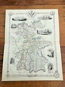 1855-original-ornate-map-of-germany-with-vignette-039-s