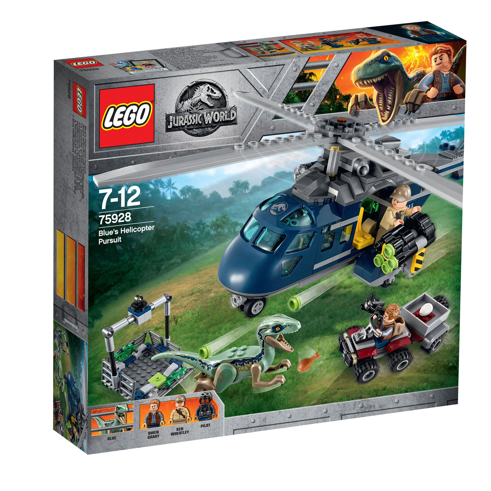75928 LEGO LEGO LEGO Jurassic World bluee'S Helicopter Pursuit 397 Pieces Age 7+ New 2018  a03824