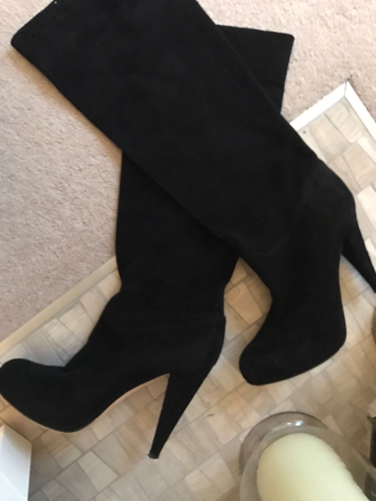 Bally Black Suede Platform High Heel Knee Hi High Boots shoes 38.5 & UK 5.5,