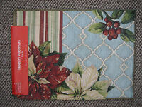 Holiday 2 Pack Christmas Tapestry Placemats 13 X 18 Pointsettias Berries