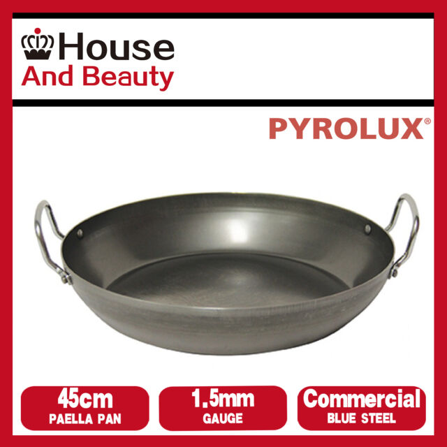 NEW Pyrolux Industry Blue Steel 1.5mm Gauge Commercial Quality 45cm Paella Pan