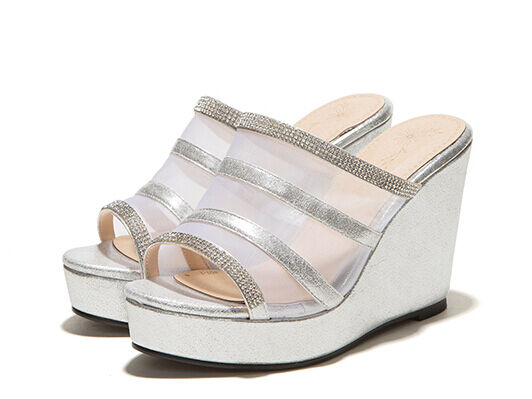 Schuhes slippers sabot Sandale heel wedge 10 cm transparent silver élégant 300