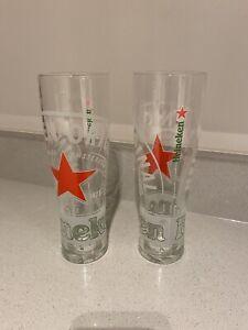 2-X-RARE-HEINEKEN-EMBOSSED-PINT-GLASS-BRAND-NEW-CE-BAR-GIFT-MAN-CAVE