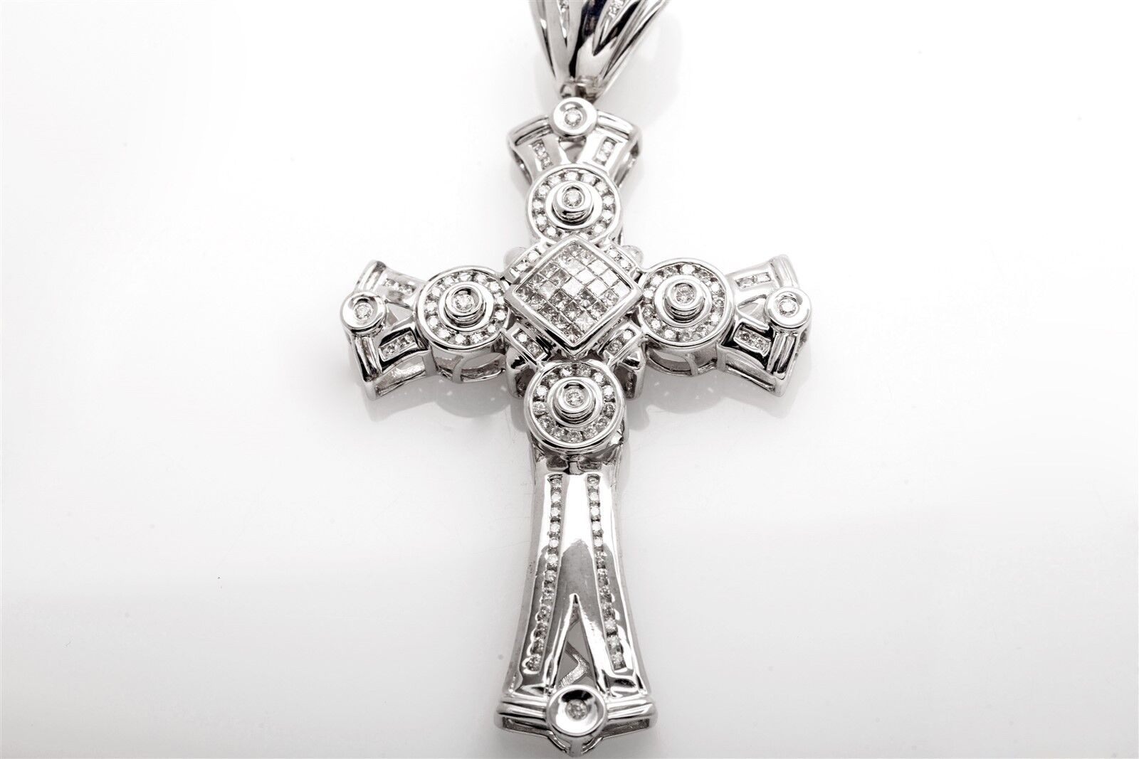 Estate   10,000 5ct Diamond 14k White gold CROSS Pendant 25g BIG